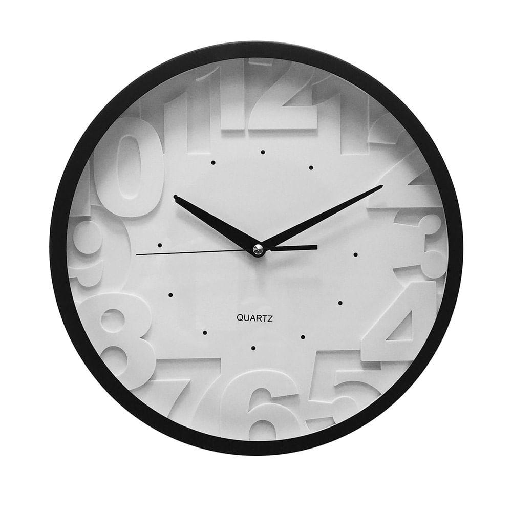 0f05ebe96c85 Reloj De Pared Blanco Con Numeros En Relieve 30 Cm