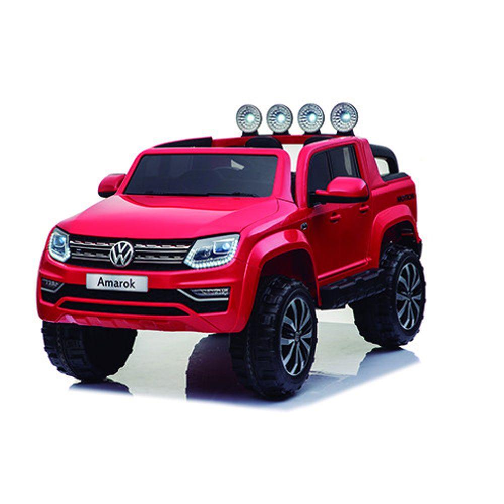 Auto-a-Bateria-Camioneta-Volskwagen-Amarok-12V-Doble-Asiento-de-Cuero-Rojo-10008137
