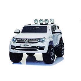 Auto-a-Bateria-Camioneta-Volskwaguen-Amarok-12V-Doble-Asiento-de-Cuero-3031-Blanco-10008101