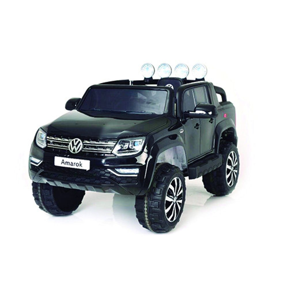 Auto-a-Bateria-Camioneta-Volskwaguen-Amarok-12V-Doble-Asiento-de-Cuero-3031-Negro-10008012