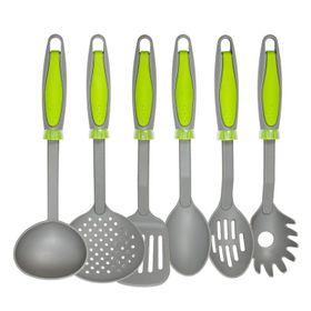 set-x-6-utensilios-nouvelle-cuisine-nylon-gris-con-mango-verde-1990164-10014344